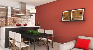 Cozinha e sala de jantar em tons terrosos