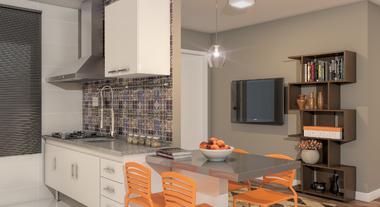 Cozinha e sala moderna integrada