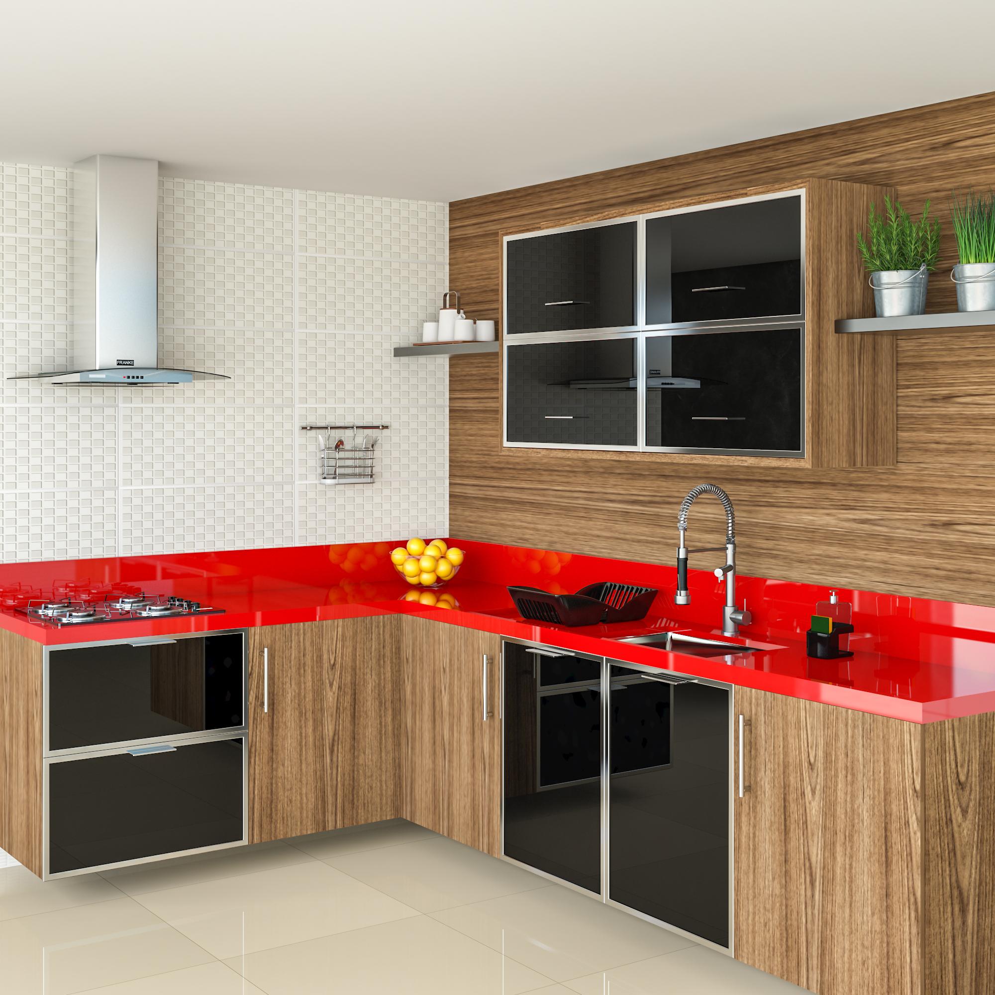 Cozinha Espa Osa Com Detalhe Vermelho Leroy Merlin ~ Cozinha Cinza Com Vermelho