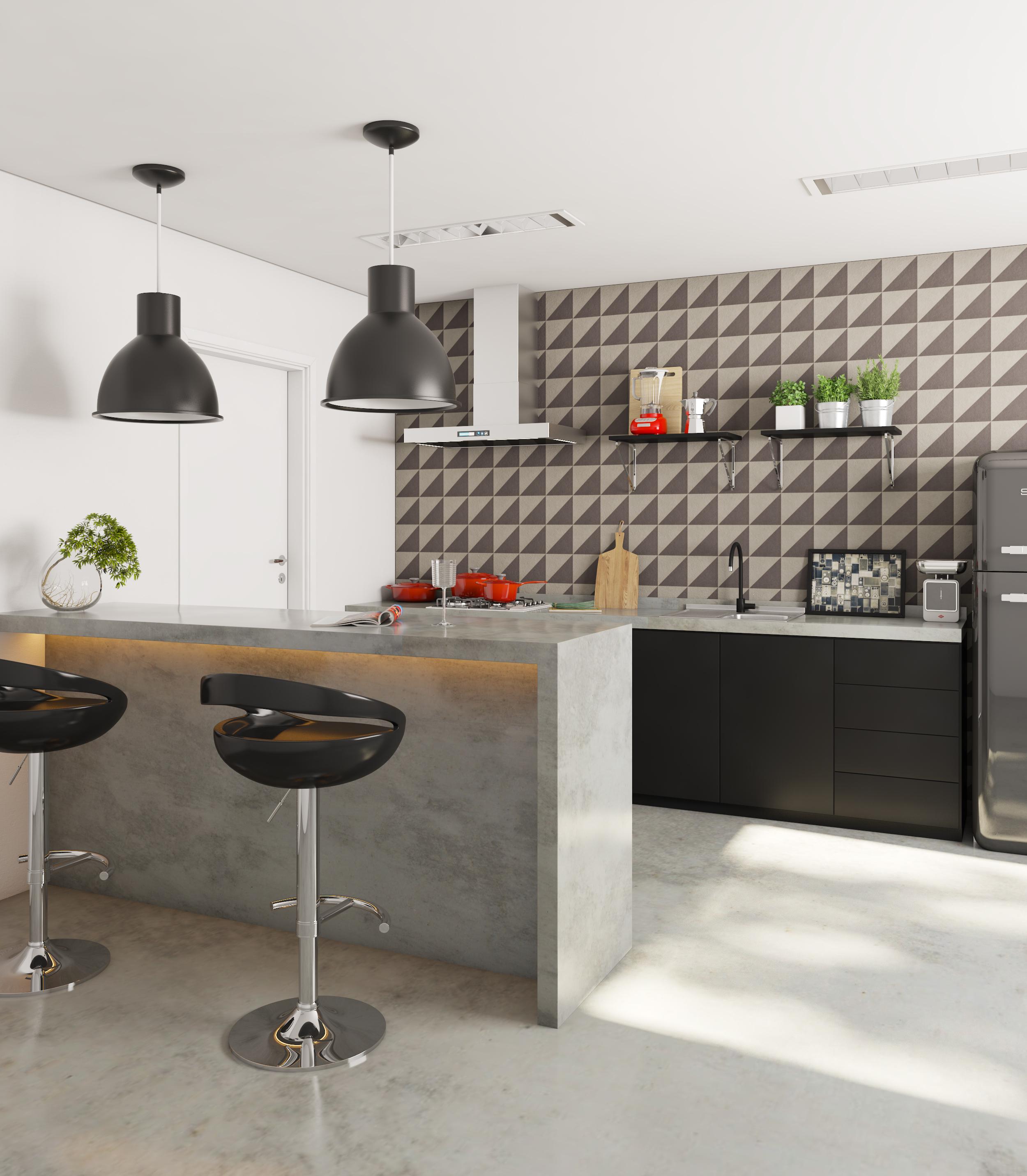 Cozinha Grande Com Detalhe Preto E Branco Leroy Merlin