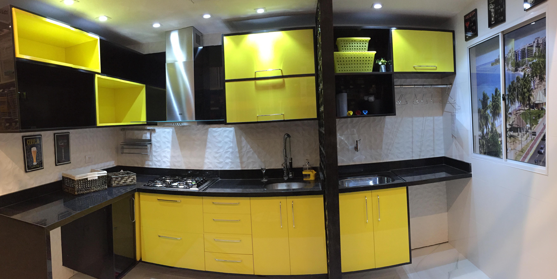 Cozinha Integrada Decorada Em Tons De Amarelo Leroy Merlin