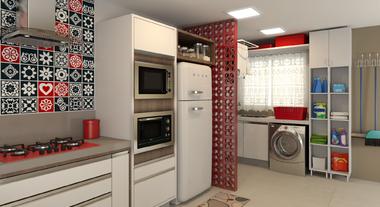 Cozinha Integrada Decorada em Tons de Vermelho