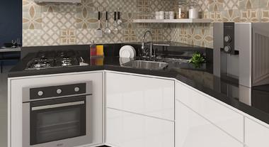 Cozinha pequena e funcional com revestimento de parede