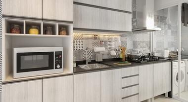 Cozinha planejada pequena com coifa e área de serviço