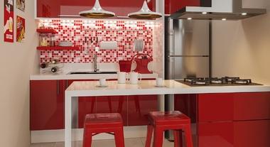 Cozinha planejada pequena com pastilhas vermelhas