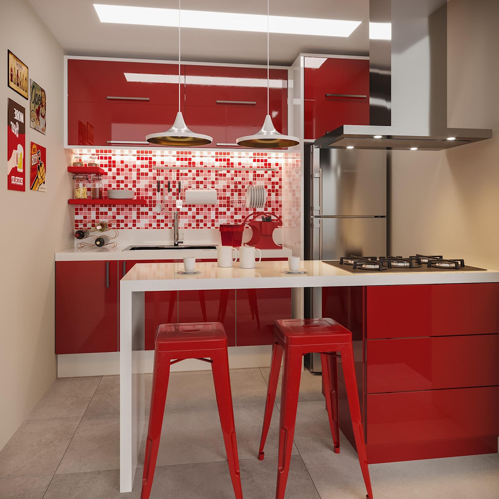 Cozinha Planejada Pequena Com Pastilhas Vermelhas Leroy Merlin