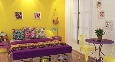 Decoração boho: como aplicar o estilo em casa usando tecidos coloridos para estofados