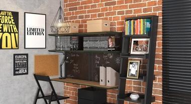 Escritório pequeno com decoração industrial