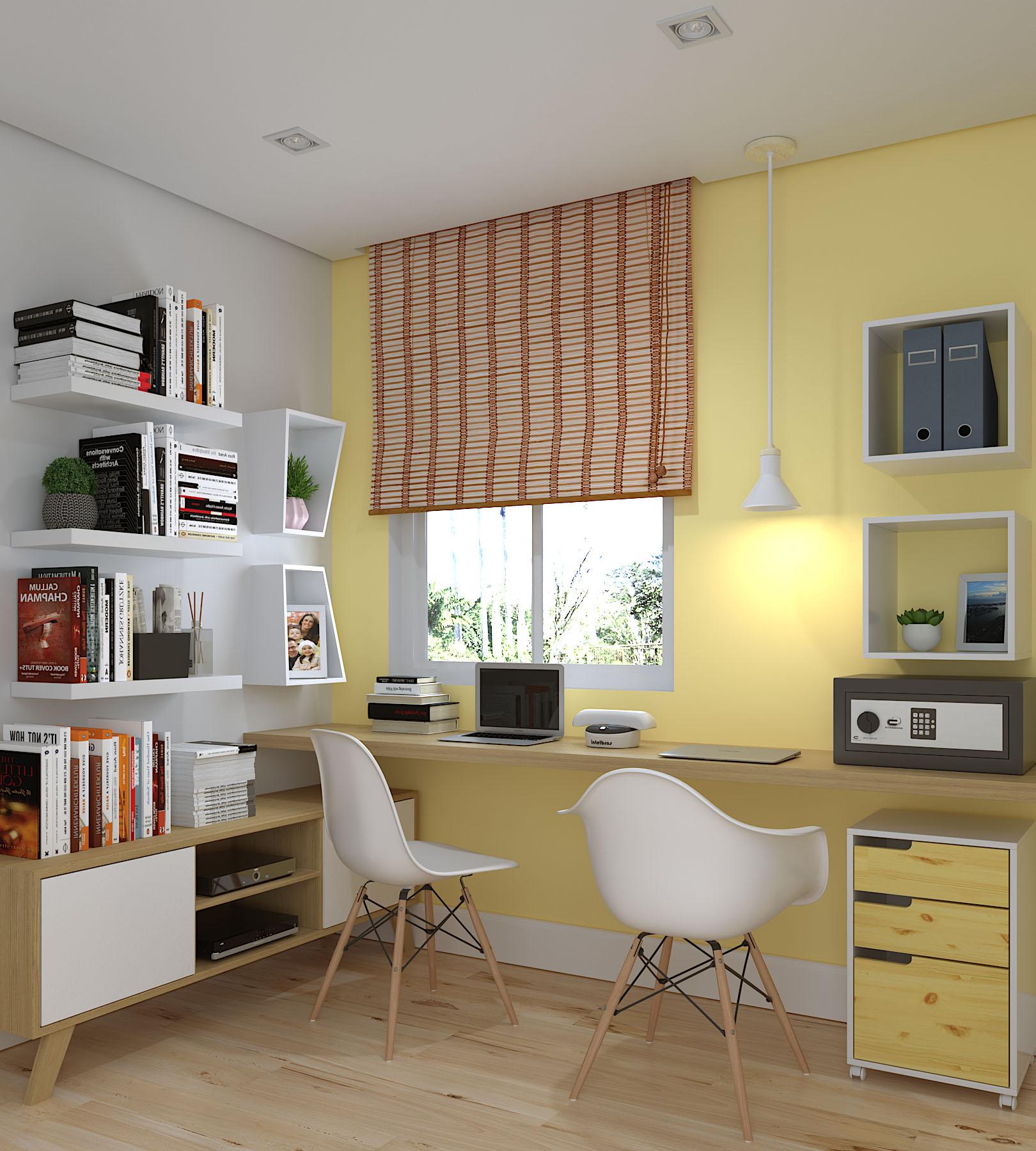 Escritório pequeno decorado com persiana e rack Leroy Merlin -> Escritorio Decorado Pequeno