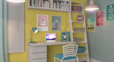Escritório pequeno feminino com decoração candy color