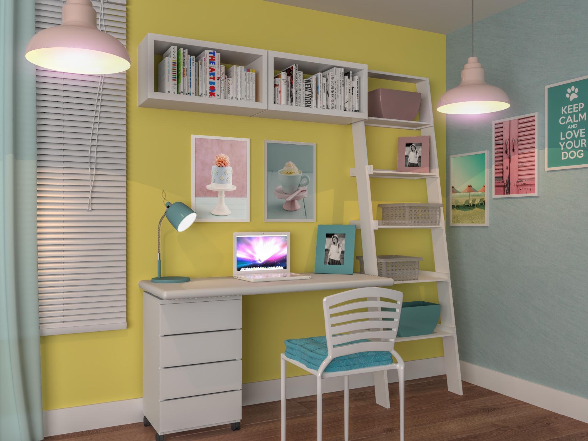 Escritório pequeno feminino com decoraç u00e3o candy color Leroy Merlin -> Decoraçao De Escritorio Feminino