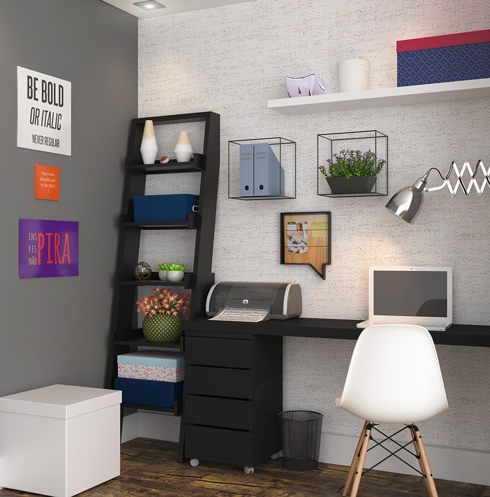Escrit rio pequeno organizado com caixas leroy merlin for Ideas para decorar escritorio