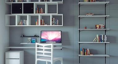 Home office neutro e organizado