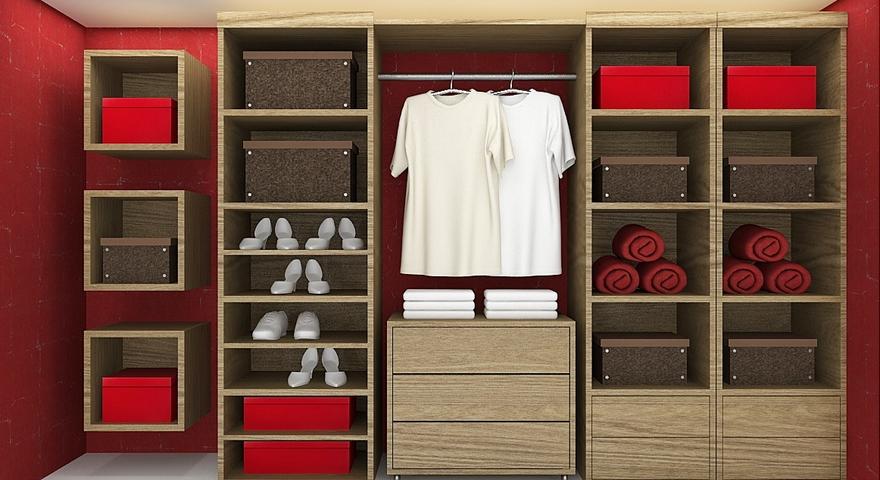 Closet em tons de vermelho