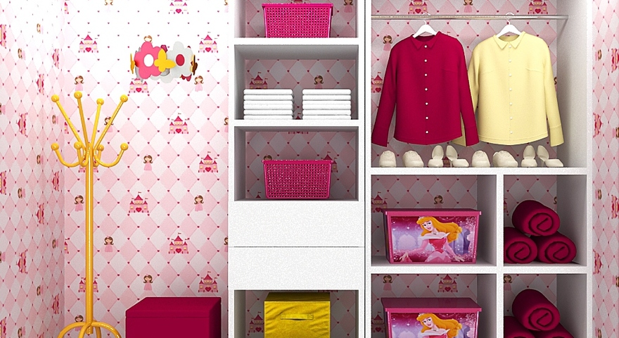Closet infantil com papel de parede