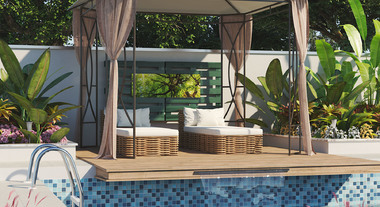 Jardim com piscina e gazebo