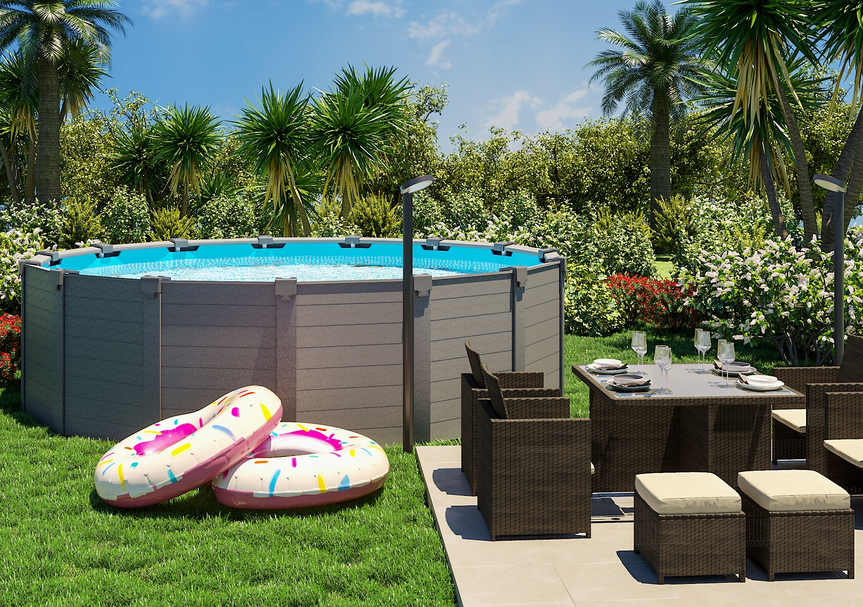 Jardim grande com mesa e piscina de armar leroy merlin - Piscinas de montar ...