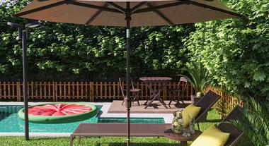 Jardim grande com ombrelone e piscina