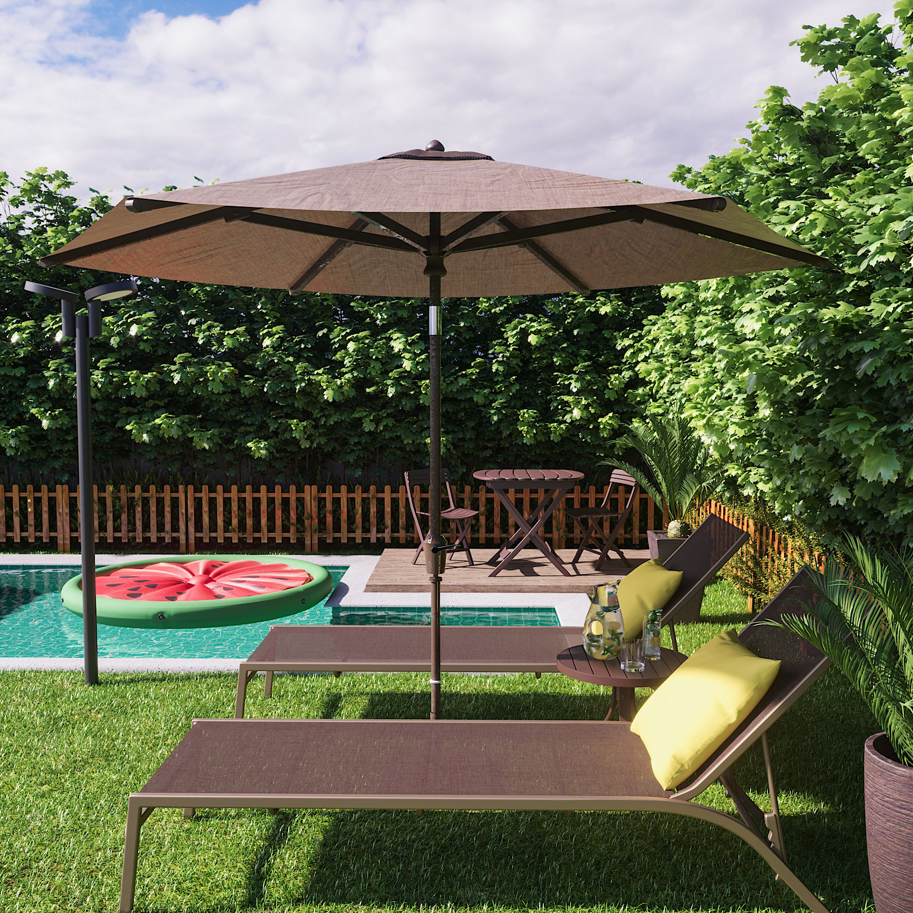 Jardim grande com ombrelone e piscina leroy merlin - Maceteros grandes leroy merlin ...