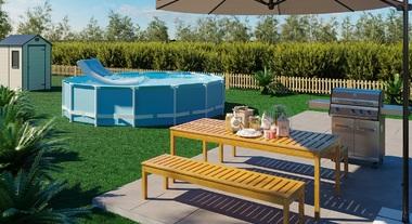 Jardim grande com piscina e churrasqueira