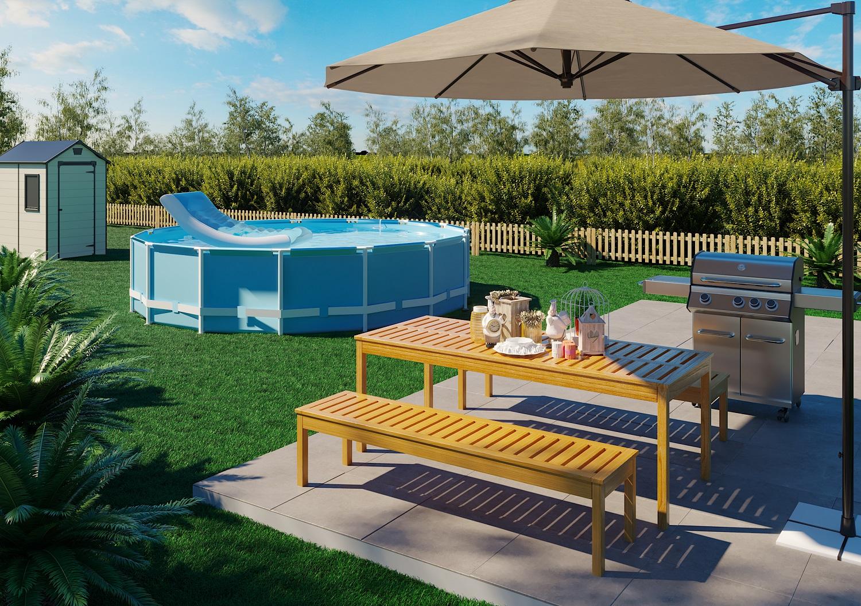 Jardim grande com piscina e churrasqueira leroy merlin for Piscinas plasticas grandes
