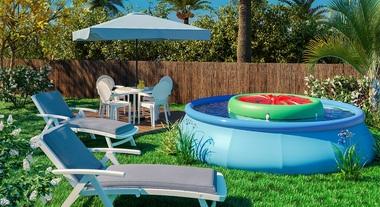 Jardim grande com piscina inflável