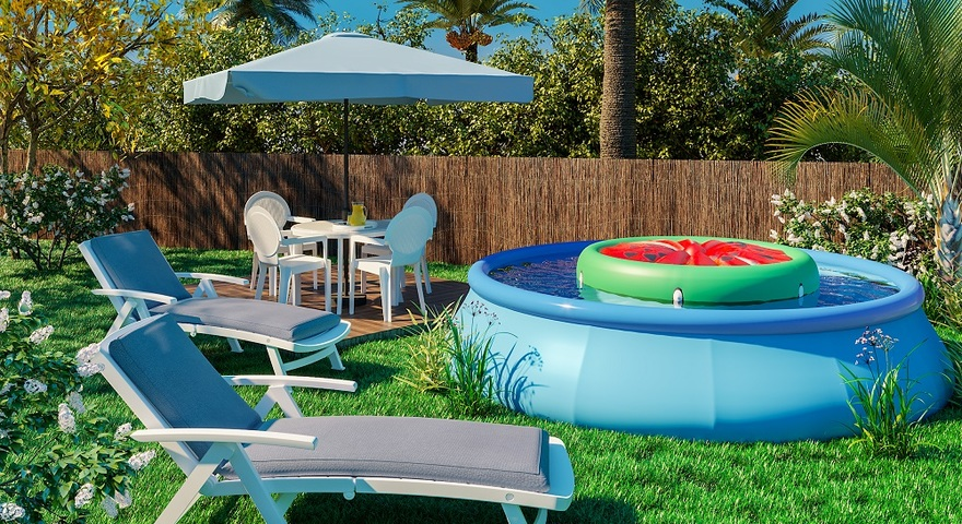 Jardim grande com piscina infl vel leroy merlin - Cuanto cuesta una piscina de arena ...