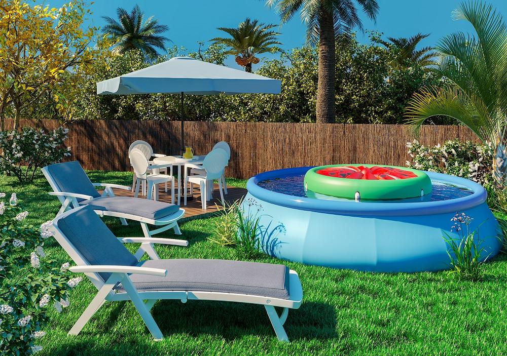 Jardim grande com piscina infl vel leroy merlin for Bordes de piscinas leroy merlin