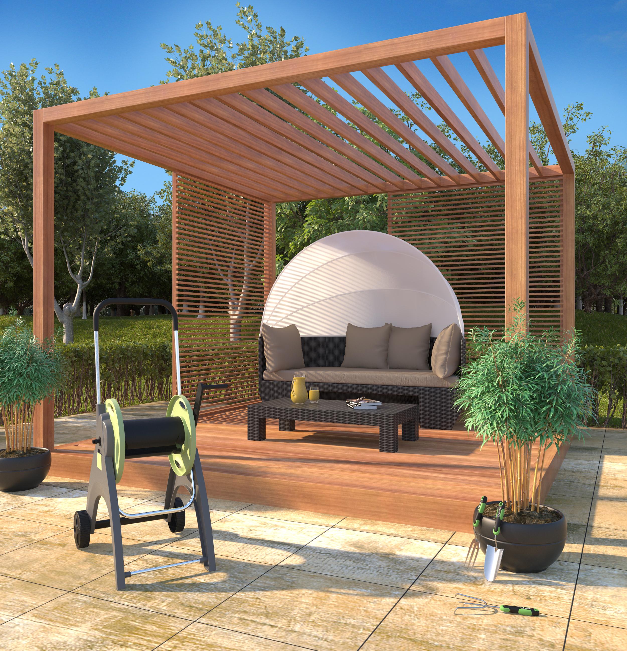 Jardim grande com sof leroy merlin for Sofa exterior jardim