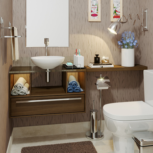 Lavabo pequeno decorado com papel de parede leroy merlin for Fotos lavabos pequenos