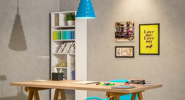 Mesa com cavalete em escritório