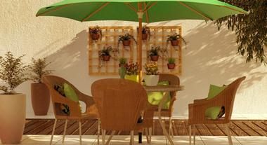 Ombrelone deixa área externa mais fresca para fazer refeições