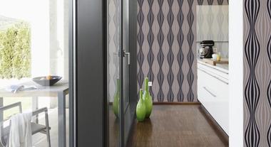Papel de parede no lavabo e na cozinha
