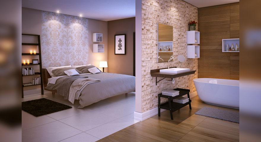 Quarto com banheiro e acabamento em porcelanato leroy merlin for Ver pisos decorados