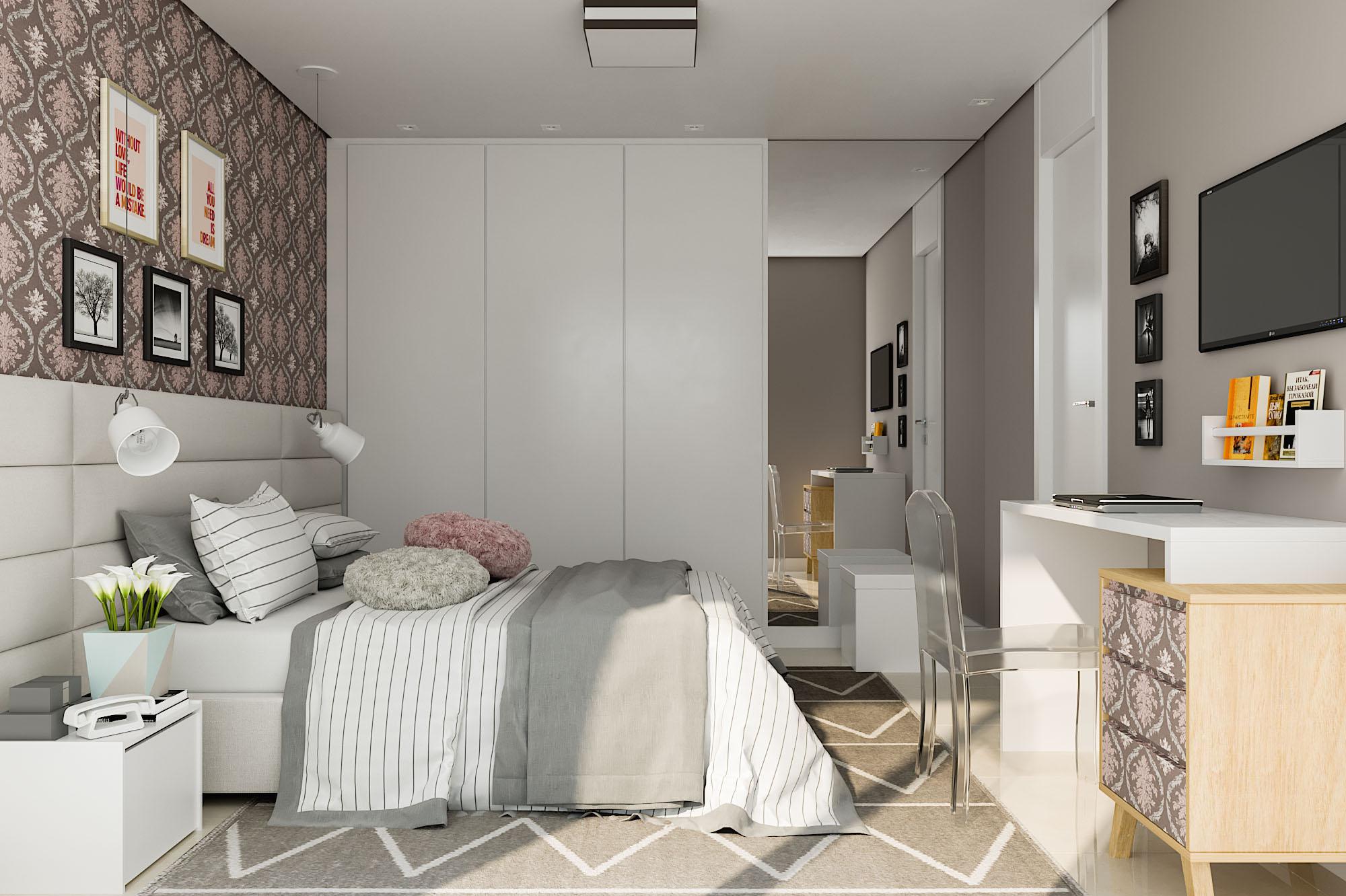 Quarto de casal planejado com papel de parede e c moda for Comodas leroy merlin