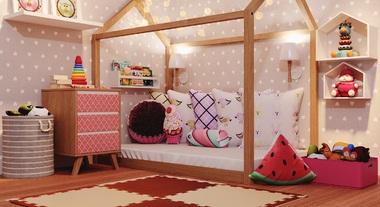 Quarto infantil feminino decorado com papel de parede