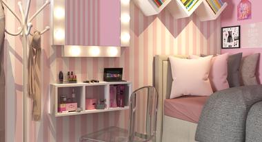 Quarto pequeno com decoração blush pink