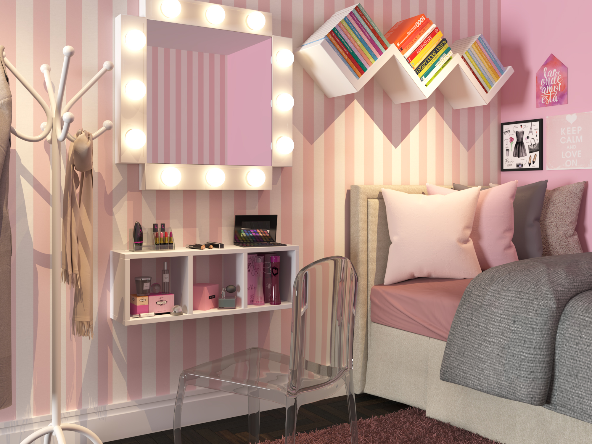 Quarto Pequeno Com Decora O Blush Pink Leroy Merlin ~ Quarto Cinza Feminino Com Nichos Quarto De Menina