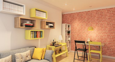 Sala com nichos e detalhes em amarelo