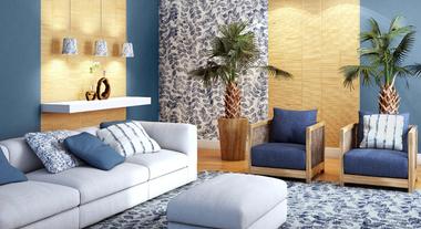 Sala confortável com referências naturais