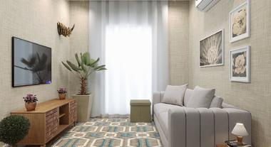 Sala de apartamento pequeno com tapete e cortina