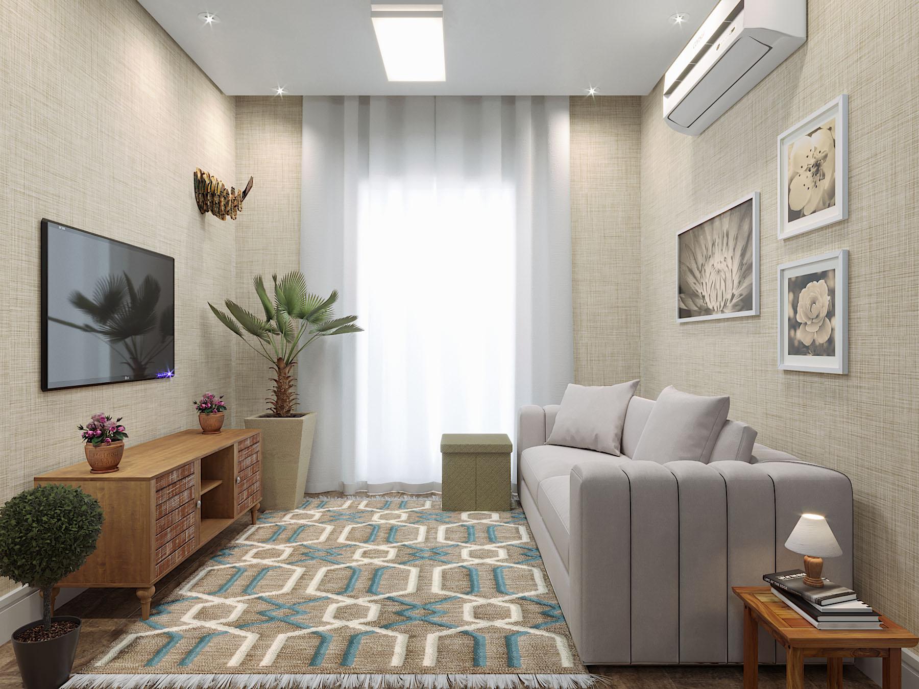 Sala de apartamento pequeno com tapete e cortina leroy for Salas para departamentos pequenos