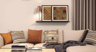 Sala de estar aposta na decoração com cobre
