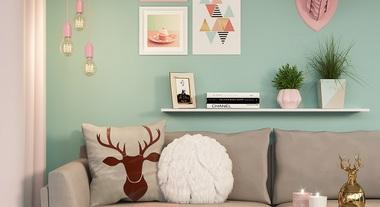Sala de estar com decoração nórdica