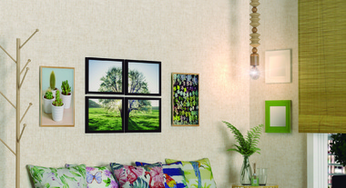 Sala de estar com elementos naturais na decoração