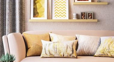 Sala de estar com estilo gold