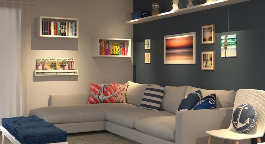 Sala pequena com rack feito de estantes for Sala de estar futurista