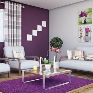 Sala de estar decorada em tons de roxo leroy merlin for Tappeti sala leroy merlin