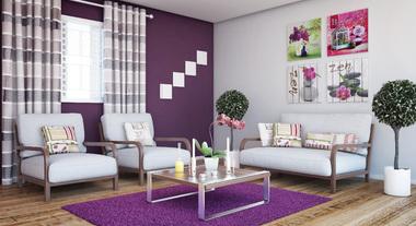 Sala de estar decorada em tons de roxo