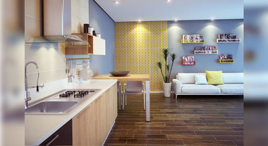 Sala de estar e de jantar integradas e com revestimento
